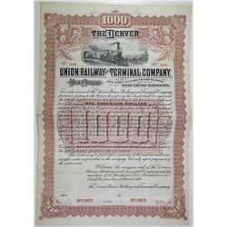 Denver Union Railway and Terminal Co., 1890 Specimen Bond Rarity