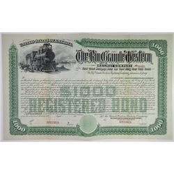 Rio Grande Western Railway Co. 1889 (Reissued in 1900) Specimen Bond