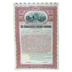 Consolidated Railway Co. 1904 Specimen Bond.