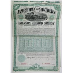 Jamestown and Northern Extension Railroad Co., 1889 Specimen Bond Rarity