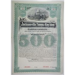 Jacksonville, Tampa and Key West Railway Co., 1889 Specimen Bond Rarity.