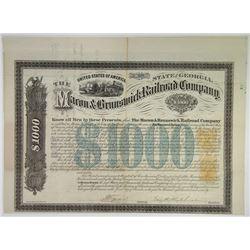 Macon & Brunswick Railroad Co. 1870 Bond With Imprinted Revenues.