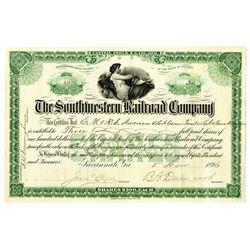 Southwestern Railroad Co., 1896 I/C Stock Certificate.