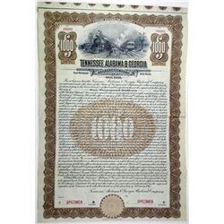 Tennessee, Alabama & Georgia Railroad Co. 1911 Specimen Bond