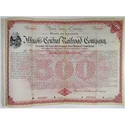 Illinois Central Railroad Co., St. Louis Division and Terminal, 1897 Specimen Bond Rarity