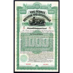 Peoria, Decatur and Evansville Railway 1886 Specimen Bond.