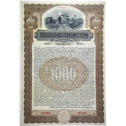 Toledo, St. Louis and Western Railroad Co. 1907 Specimen Bond