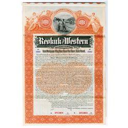 Keokuk and Western Railroad Co. 1898 $1000 Specimen Bond
