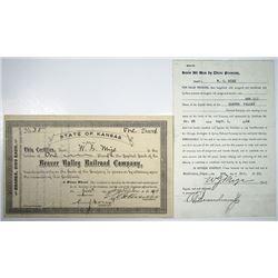Beaver Valley Railroad Co., 1914 I/U Stock Certificate