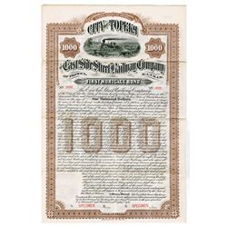 East Side Street Railway Co. Of Topeka, 1888 Specimen Bond