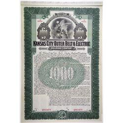 Kansas City Outer Belt & Electric Railroad Co. 1903 Specimen Bond.