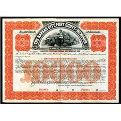 Kansas City, Fort Scott and Memphis Railway Co., 1901 Specimen Registered Bond.