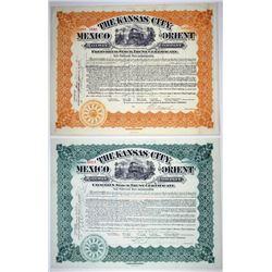 Kansas City, Mexico & Orient Railway Co., 1907-1909 Pair of I/U Stock Certificates