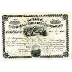 Saint Louis, Fort Scott & Wichita Railroad Co. 1881 I/U Stock Certificate