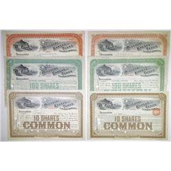Missouri Kansas & Texas Railway Co., 1897-1909 Group of Cancelled Stock Certificates