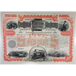 Central Railroad of New Jersey, 1887 Specimen Bond.