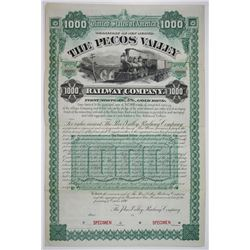 Pecos Valley Railway Co., 1890 Specimen Bond Rarity