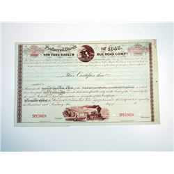 New York & Harlem Rail Road Co., Preferred Stock of 1848, Specimen Stock Certificate