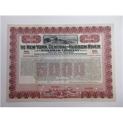 NY. New York Central & Hudson River Railroad Co 1909 $5000 Specimen Registered Bond
