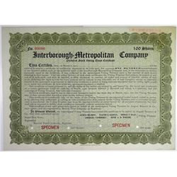 Interborough-Metropolitan Co. 1911 Specimen Stock Certificate
