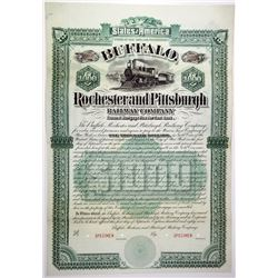 Buffalo, Rochester and Pittsburgh Railway Co. 1887 Specimen Bond