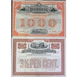 Beech Creek Railroad Co. 1890-1901 Specimen Bond Pair