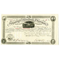Philadelphia, Germantown & Norristown Rail Road Co. 1861 Stock Certificate