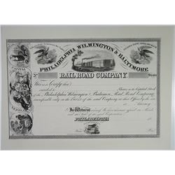 Philadelphia, Wilmington & Baltimore Railroad Co. Specimen Stock Certificate