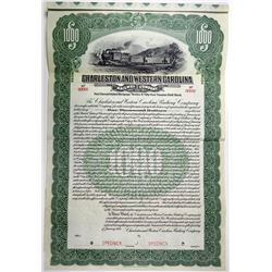 Charleston and Western Carolina Railway Co. 1914 Specimen Bond