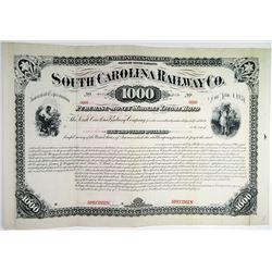 South Carolina Railway Co. 1881 Specimen Bond