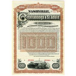 Nashville, Chattanooga & St. Louis Railway Co., 1888 Specimen Bond.