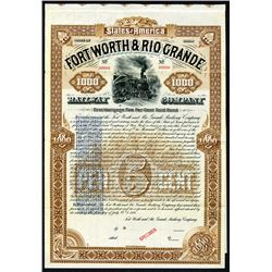 Fort Worth & Rio Grande Railway Co. 1888 Specimen Bond Reissued in 1897 With New Terms.