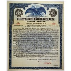 Fort Worth and Denver City Railway Co. 1920 Specimen Bond Rarity
