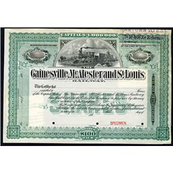 Gainesville, McAlester and St. Louis Railway, 189x Specimen Stock Certificate.
