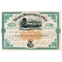 Atlantic, Mississippi & Ohio Rail Road Co., 1872 Issued Stock Certificate Signed by William Mahone,