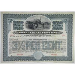 Milwaukee and State Line Railway Co., 1906 Specimen Bond
