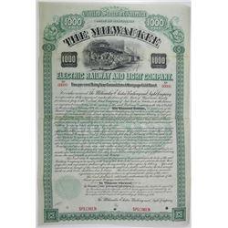Milwaukee Electric Railway and Light Co., 1896 Specimen Bond Rarity.