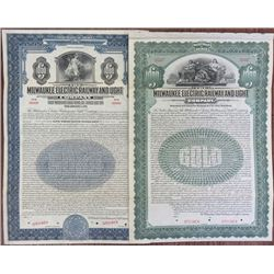 Milwaukee Electric Railway and Light Co., ca.1906-1921 Pair of Specimen Bonds