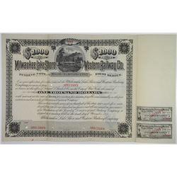 Milwaukee, Lake Shore and Western Railway Co., 1885 Specimen Bond