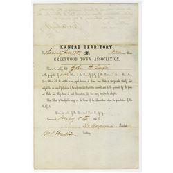 Kansas Territory, Greenwood Town Association, 1856 Stock Certificate.