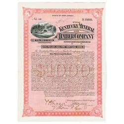 Kentucky Mineral and Timber Co., 1892 I/U Bond Signed by Thomas F. Ryan