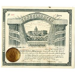 Consolidated Beneficial and Building Association, 1892 I/U Stock Certificate