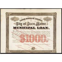 City of Saco, Maine, 1887 Municipal Loan Specimen Bond.