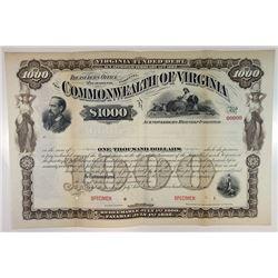 Commonwealth of Virginia, 1882 $1,000 Specimen Bond.
