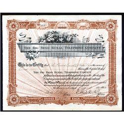 Big Bend Rural Telephone Co., 1904 I/U Stock Certificate.
