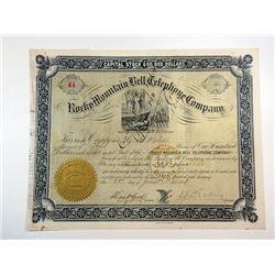 UT. Rocky Mountain Bell Telephone Co., 1883 4 Shrs I/C Stock Certificate, Fine