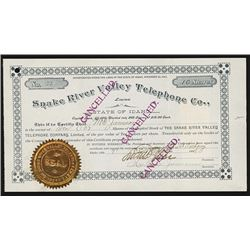 Snake River Valley Telephone Co., Ltd., 1899 I/C Stock Certificate.