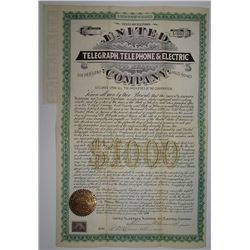 United Telegraph, Telephone & Electric Co. 1899 I/U Bond