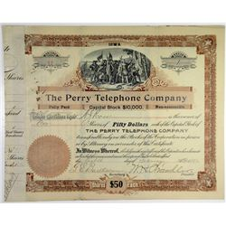 Perry Telephone Co., 1896 Issued Stock Certificate