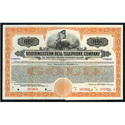 Southwestern Bell Telephone Co. 1920 Specimen $100 Registered Bond XF ABN